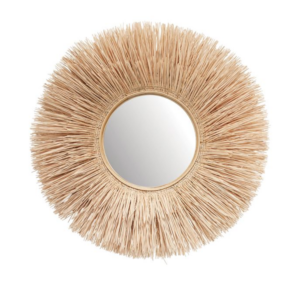 Round Bleached Wicker Wall Mirror