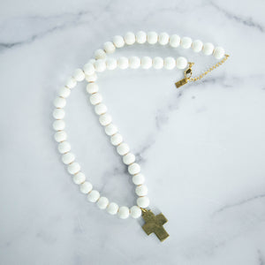 Chunky Beaded Necklace with Cross, White