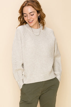 Load image into Gallery viewer, Mock Neck Raglan Sleeve Sweater