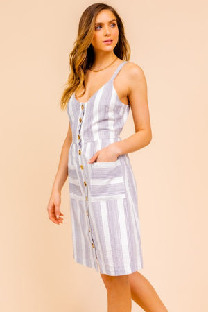Load image into Gallery viewer, Front Button Down Stripe Cami Dress