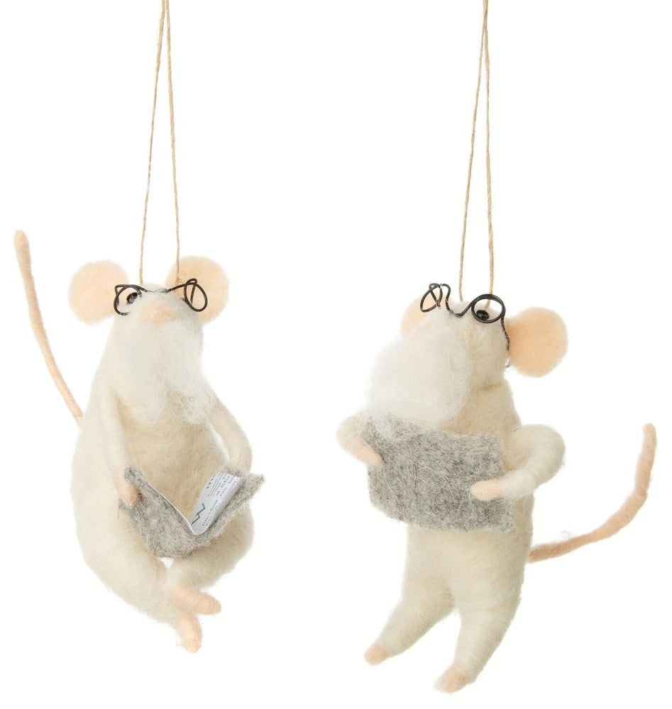 Felt Mustach Mouse Ornament