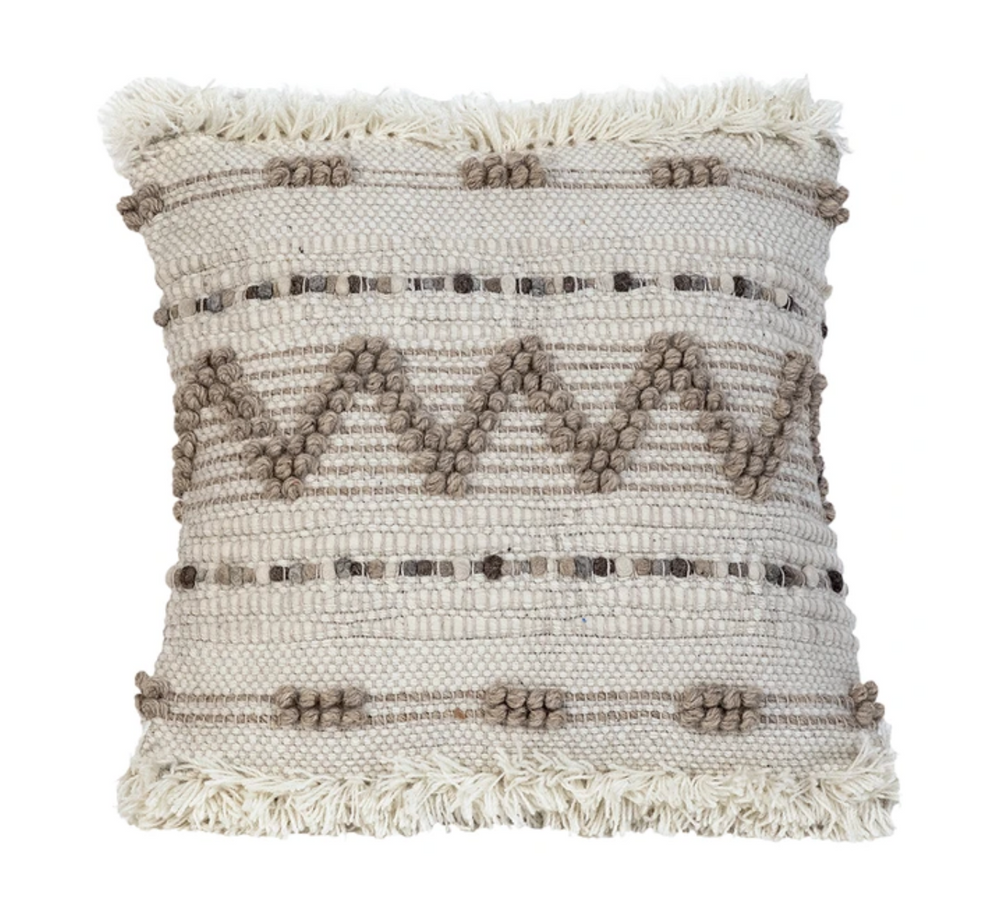 Ivory & Tan Fringe Pillow