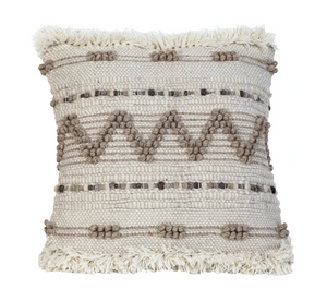 Load image into Gallery viewer, Ivory & Tan Fringe Pillow