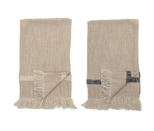 Woven Cotton Striped Tea Towels with Fringe