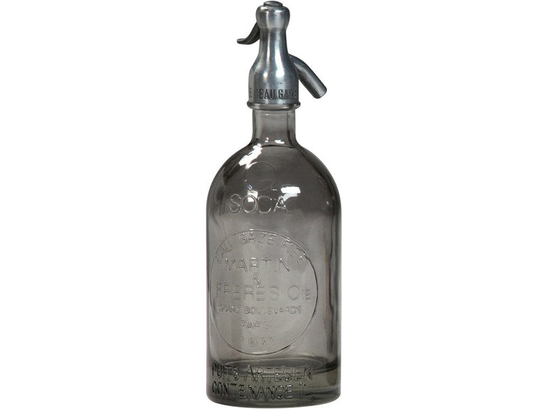 Grey Glass Seltzer Bottle