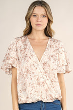 Floral Printed Layered Surplice Top