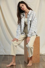 Woven Linen Checker Oversized Flannel
