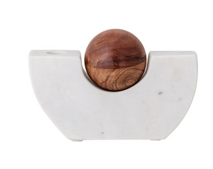 Marble Taper Holder with Wood Ball