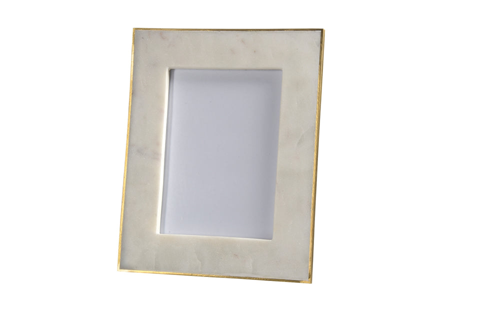 Marble Picture Frame with Brass Trim - 5 x 7