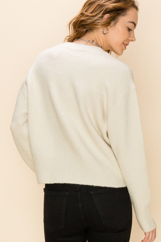 Load image into Gallery viewer, Crew Neck Drop Shoulder Sweater