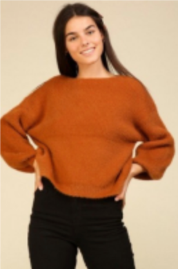 Load image into Gallery viewer, Balloon Sleeve Knit Sweater - Burnt Orange