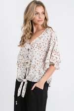 Tie Front Button Down Blouse