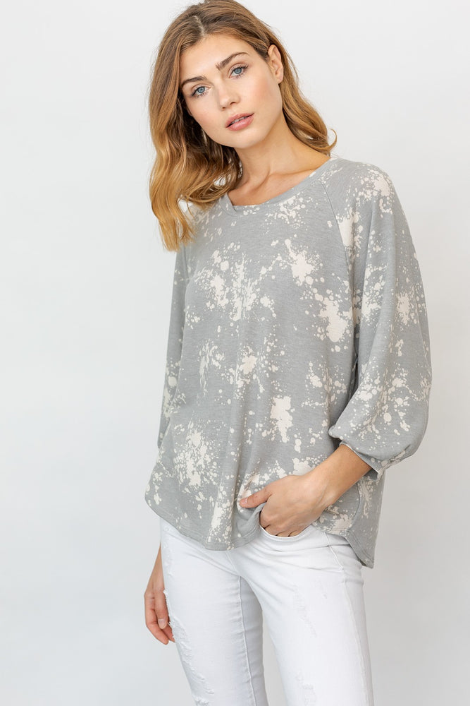3/4 Sleeve Abstract Print Top
