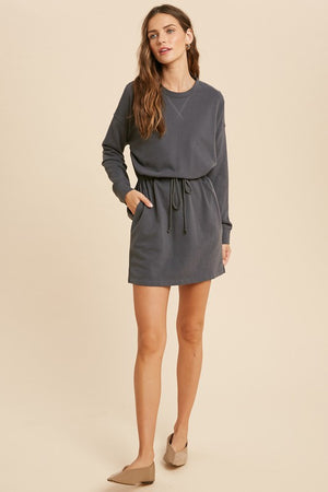 Load image into Gallery viewer, Drawstring Waist Knit Dress