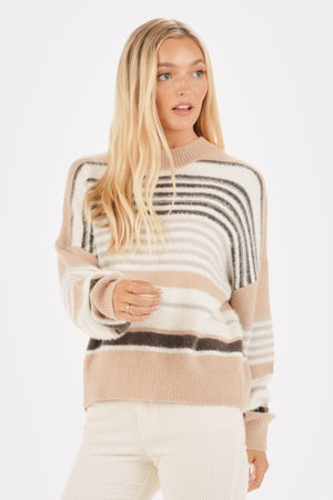 Load image into Gallery viewer, Striped Fuzzy Knit Crew Neck Sweater
