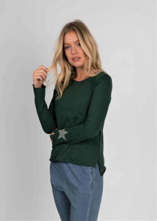 Jersey Long Sleeve Tee With Star Detail