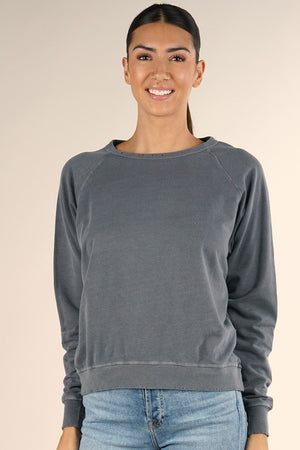 Distressed Terry Cloth Sweatshirt