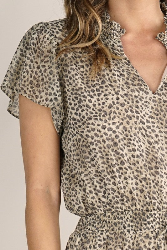 Animal Print High Low Dress with Smocked Neck