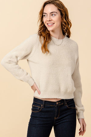 Fuzzy Crew Neck Long Sleeve Sweater