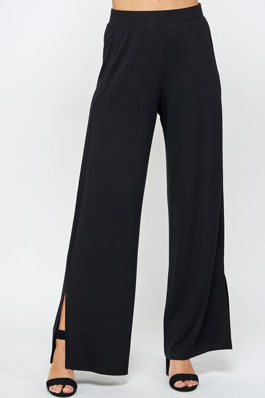 French Terry Wide Leg Pant with Side Slit