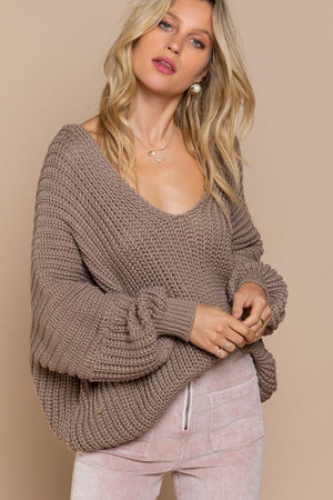 Cable Knit Deep-V Dolman Sleeve Sweater