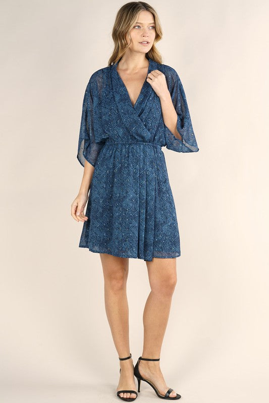 Printed Kimono Sleeve Draped Dress
