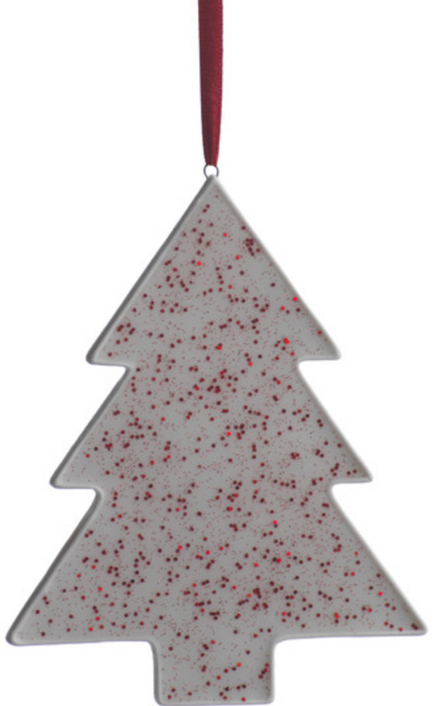 Red and White Glitter Tree Ornament