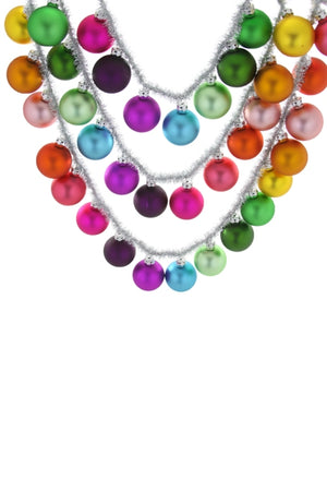 Rainbow Ball Garland with Silver Tinsel