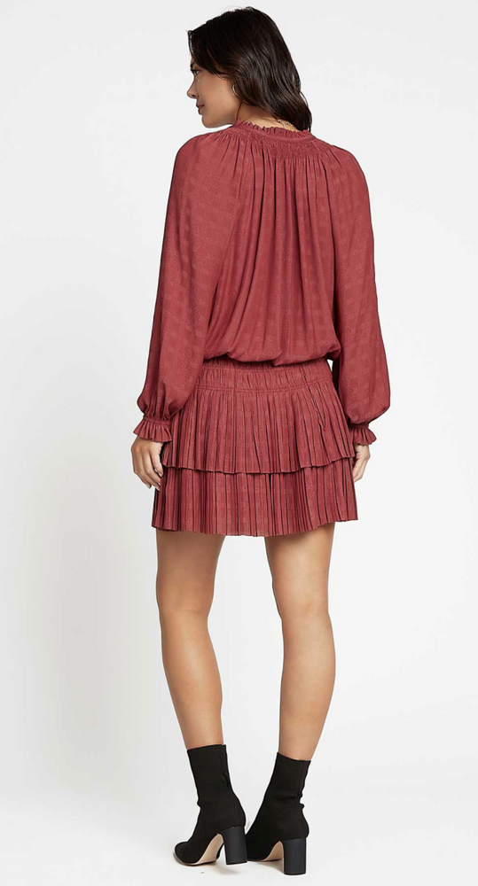 Burgundy Ruffle Collared Long Sleeved Dress