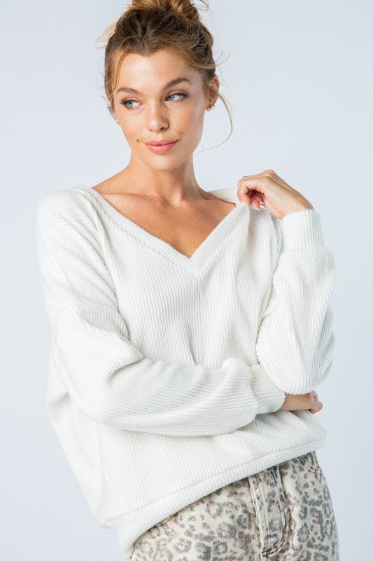 Ribbed Knit Long Sleeve Top