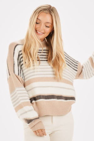 Striped Fuzzy Knit Crew Neck Sweater