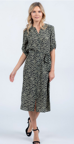 Olive Midi Dress with Woven Belt