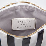 Black and  White Cabana Stripe Wristlet