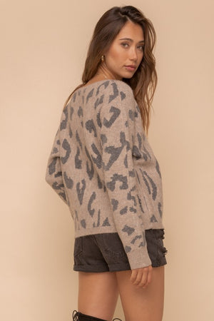 Load image into Gallery viewer, Leopard Wide Neck Dolman Sweater