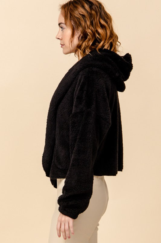 Load image into Gallery viewer, Faux Fur Cropped Hoodie Jacket
