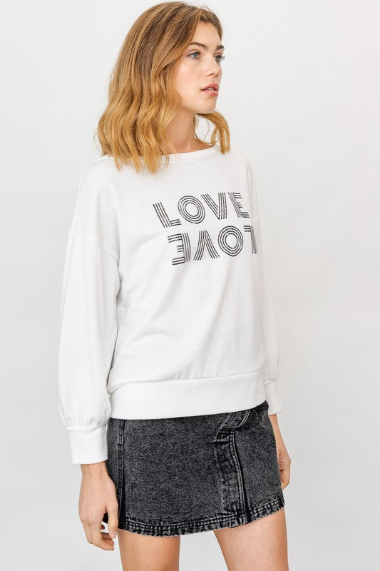 Load image into Gallery viewer, Off Shoulder Love Graphic Top