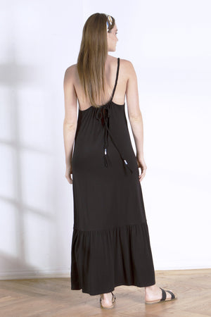 Load image into Gallery viewer, Black Tiered Tank Dress