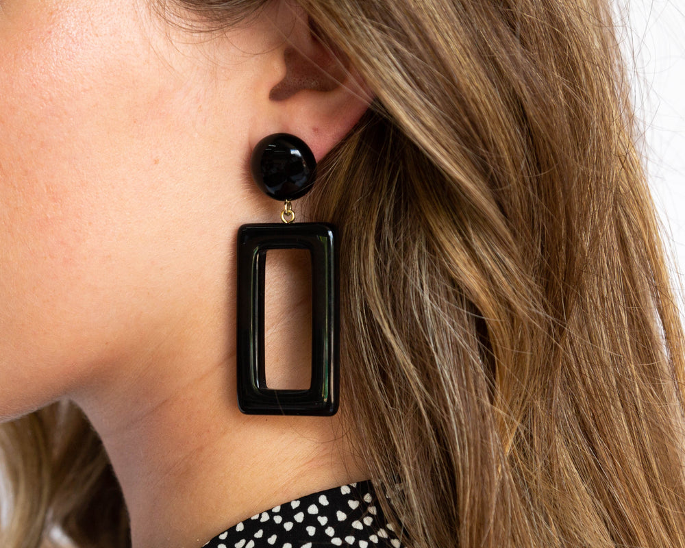 Black Rectangle Earrings