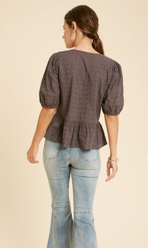 Load image into Gallery viewer, Eyelet Peplum Blouse