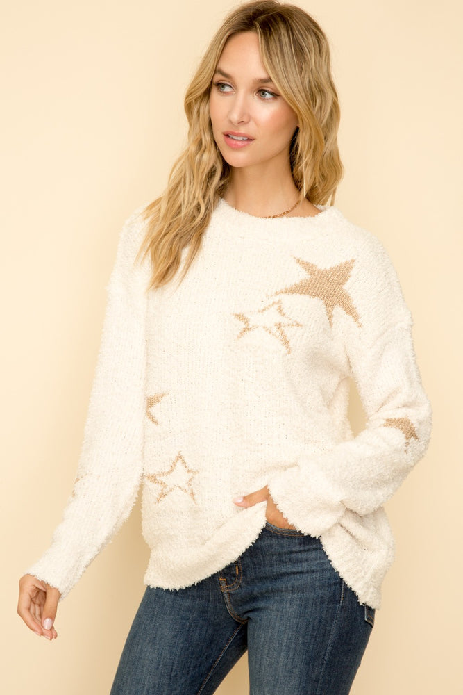 Ivory Metallic Star Pullover Sweater