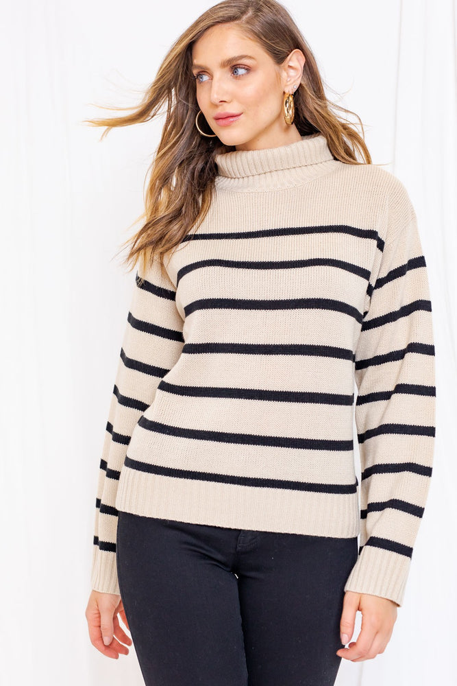 Load image into Gallery viewer, Long Sleeve Mock Neck Striped Sweater