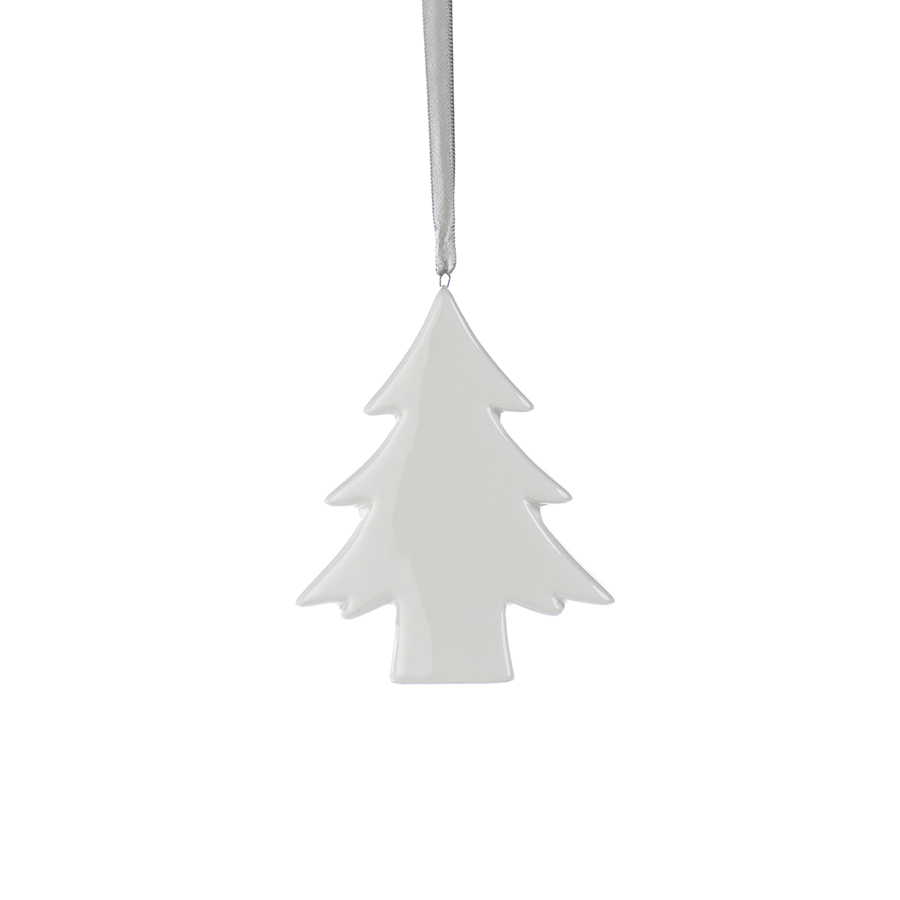 White Ceramic Tree Ornament
