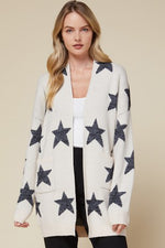 Star Print Cardigan with Pockets