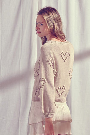 Load image into Gallery viewer, Pom Pom Heart Knit Sweater