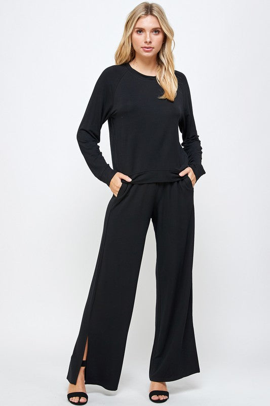 Load image into Gallery viewer, French Terry Wide Leg Pant with Side Slit