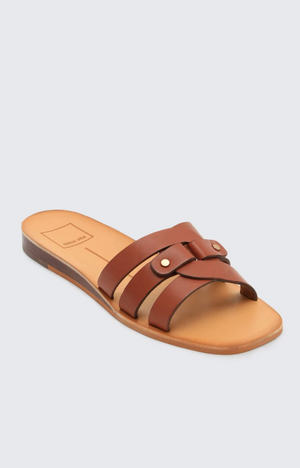 Load image into Gallery viewer, Leather Slide On Sandals - Brown