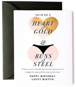Heart of Gold, Buns of Steel Greeting Card