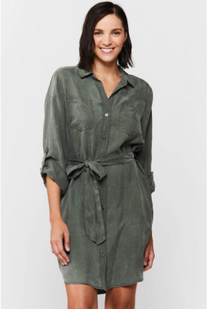 Anita Roll Tab Sleeve Button-Up Dress