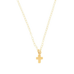 "16"" Gold Believe Cross Charm Necklace"