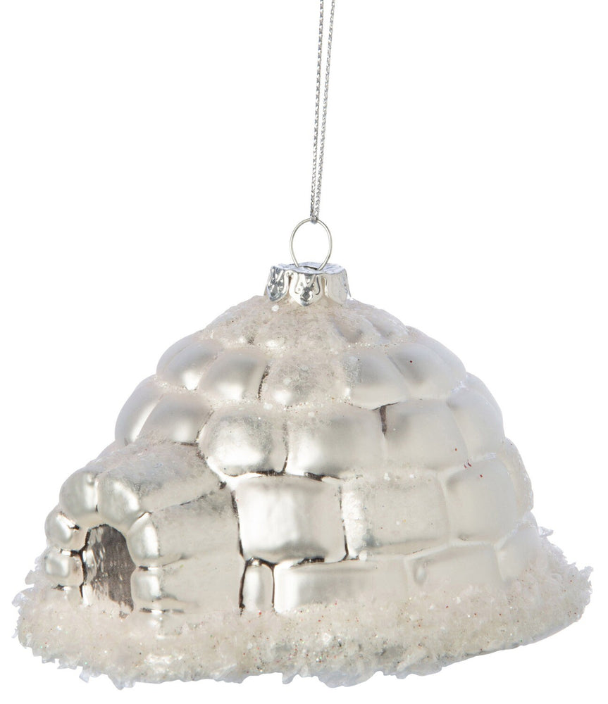 Silver Blown Glass Igloo Ornament
